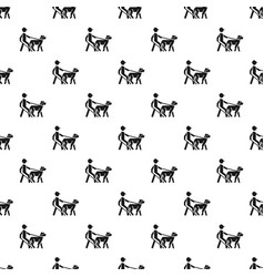 blind man dog pet pattern seamless vector image