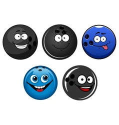 Blue and black bowling balls cartoon characters vector