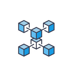 blue blockchain crypto icon cryptocurrency vector image