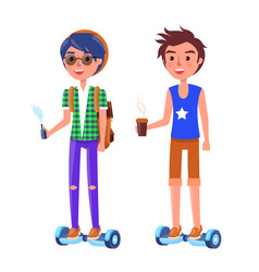 boy and girl riding on segway personal transporter vector image