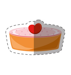 Cake pie heart dessert shadow vector
