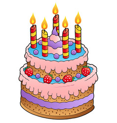 cake with candles and strawberries vector image