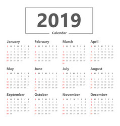 calendar 2019 simple style week starts sunday vector image