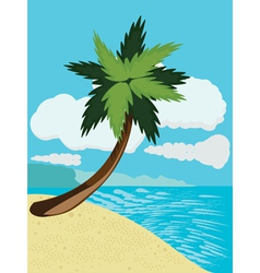 Cartoon beach with palm vector image