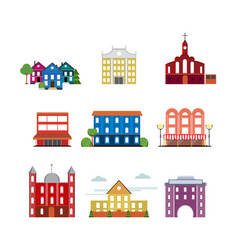 city urban buildings collection vector image