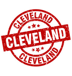 cleveland red round grunge stamp vector image