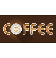 Coffee word with top view of latte art cup vector