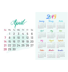Colorful planner 2019 april separately vector