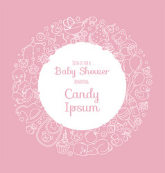 cute bashower invitation card for newborn boy vector image