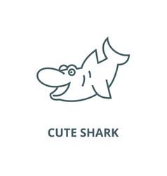 cute shark line icon cute shark outline vector image
