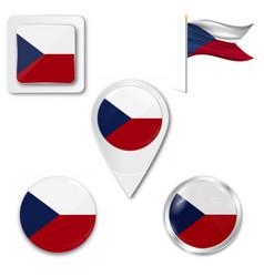 Czech republic flag icons theme vector