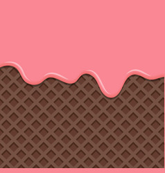 dessert with pink cream melted on wafer vector image