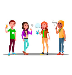 Difficult teenagers - alcohol cigarettes drugs vector