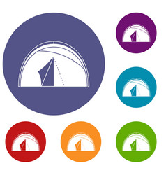 Dome tent icons set vector