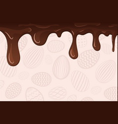 Easter egg pattern dripping brown chocolate vector