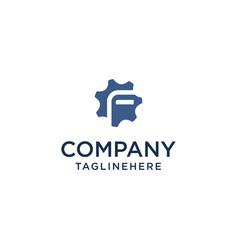 F logo initial letter design template inside gear vector