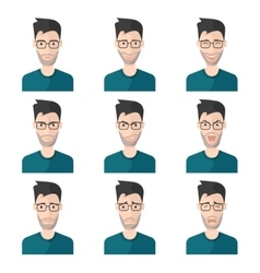 Facial Expression Man Icon Set vector image