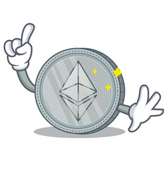 Finger ethereum coin character cartoon vector