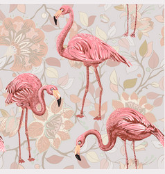 flamingo on a pink background seamless pattern vector image