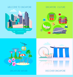 Flat singapore culture icon set vector