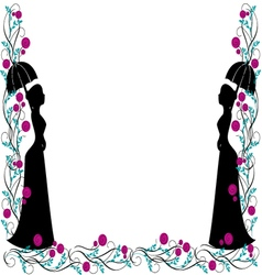 frame backgroung vintage silhouette vector image
