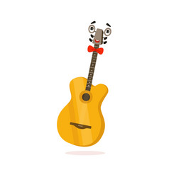 funny classical guitar musical instrument cartoon vector image