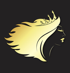 girl silhouette with golden crown and hairstyle vector image