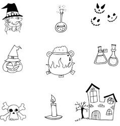 Halloween doodle element vector