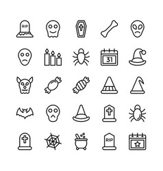 halloweenparty and celebration line icon 23 vector image