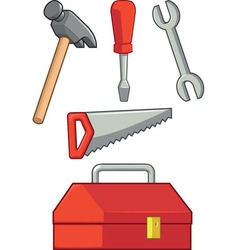 Hand Tool Hammer Screwdriver Wrench Saw Tool Box vector image