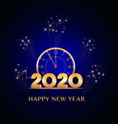 Happy new year 2020 text design with golden vector