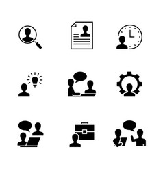 Head hunting black icons on white background vector