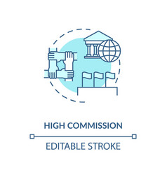 High commission concept icon vector