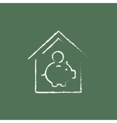 House savings icon drawn in chalk vector