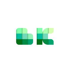 initial letters bk b k pixel brick logo design vector image