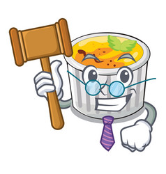 Judge creme brulee served on mascot plate vector