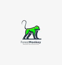 Logo forest monkey mascot cartoon vector