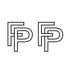 Logo sign fp pf icon sign interlaced letters p f vector