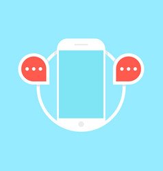 messaging with white phone vector image vector image