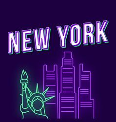 new york vintage 3d lettering retro bold font vector image
