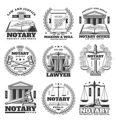notary firm law and justice office icons vector image