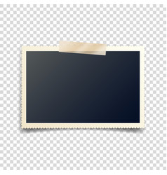 Old photo card with tapecarved sidesframefilm vector