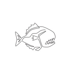 one continuous line drawing dangerous piranha vector image