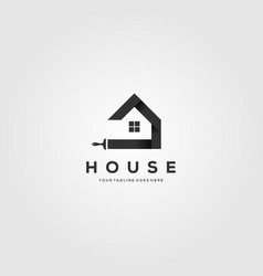 paint house brushes logo creative clever vector image