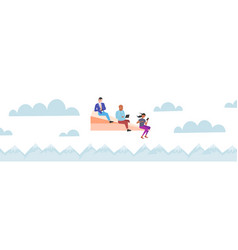 People flying on paper airplane mix race vector