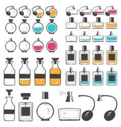Perfume and cologne bottles set Exclusive bottles vector image