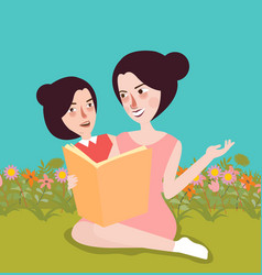 reading book at garden mom and her kids outdoor vector image
