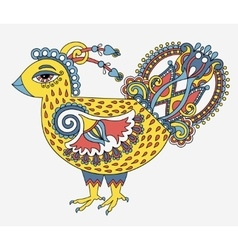 Retro cartoon chicken drawing symbol of 2017 new vector