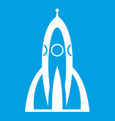 Rocket icon white vector