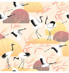 Seamless pattern wetland scene and japanese cranes vector